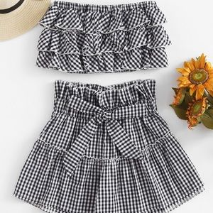 Tiered Frill Gingham Bandeau Top With Shorts Set